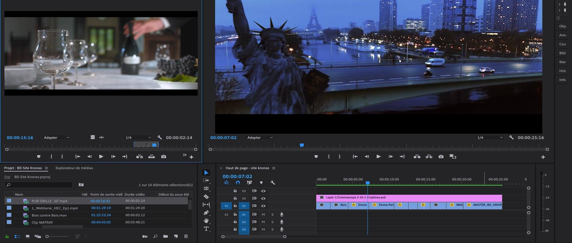 capture d'écran d'une post-production audiovisuelle